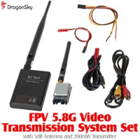 DragonSky (DS-FPV-5DB-200MW) FPV 5.8G Video Transmission System Set with 5dB Antenna and 200mW Transmitter