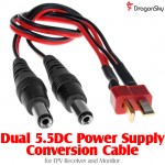 DragonSky (DS-FPV-PS-A) Dual 5.5DC Power Supply Conversion Cable for FPV Receiver and Monitor