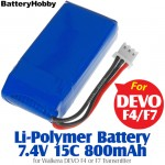 BatteryHobby (BH7.4V15C800) Li-Polymer Battery 7.4V 15C 800mAh for Walkera DEVO F4 or F7 Transmitter