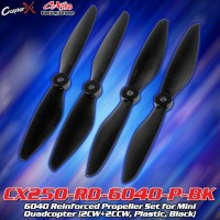 CopterX (CX250-RD-6040-P-BK) 6040 Reinforced Propeller Set for Mini Quadcopter (2CW+2CCW, Plastic, Black)