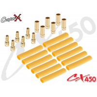 CopterX (CX450-08-14) Gold Plated Connectors with Heat Shrink Tubing 6 Pairs