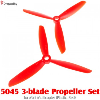 DragonSky (DS-PROP-3-5045-R) 5045 3-blade Propeller Set for Mini Multicopter (Plastic, Red)