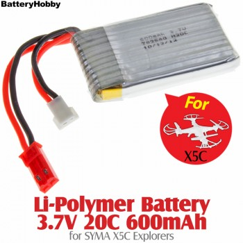 BatteryHobby (BH3.7V20C600) Li-Polymer Battery 3.7V 20C 600mAh for SYMA X5C, Walkera V120D02S