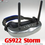 BOSCAM (BOSCAM-GS922) STORM Dual 5.8G Receiver 32CH FPV Goggle with DVR System (Silver)