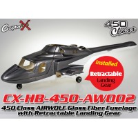 CopterX (CX-HB-450-AW002) 450 Class AIRWOLF Glass Fiber Fuselage with Retractable Landing Gear (Grey White)