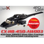 CopterX (CX-HB-450-AW003) 450 Class AIRWOLF Glass Fiber Fuselage with Retractable Landing Gear (Black White)