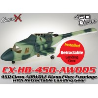 CopterX (CX-HB-450-AW005) 450 Class AIRWOLF Glass Fiber Fuselage with Retractable Landing Gear (Green Camouflage)