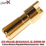 CopterX (CX-PLUG-BANANA-5.5MM-M) 5.5mm Banana Plug Gold Plated Connector - Male
