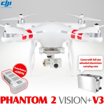 DJI Phantom 2 Vision+ V3 GPS Drone RTF with Wheeled Aluminium Carrying Case