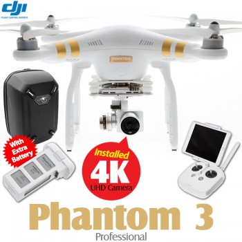 DJI Phantom 3 Professional + Extra Battery + Part 50 Hardshell Backpack Combo (Phantom logo)