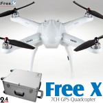 Free X 7CH GPS Quadcopter with Aluminium Case RTF (White, Mode 2) - 2.4GHz