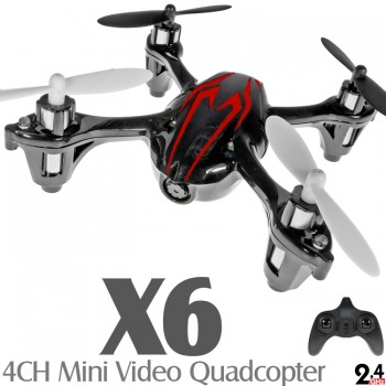 X6 (FY-310B-BR-M2) 6 Axis Gyro 4CH Mini Quadcopter with Video Camera and Rotor Blades Protection CoverRTF (Black Red, Mode 2) - 2.4GHz