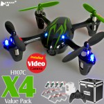 Hubsan H107C X4 Video Quadcopter Value Pack (Black Green, Mode1)