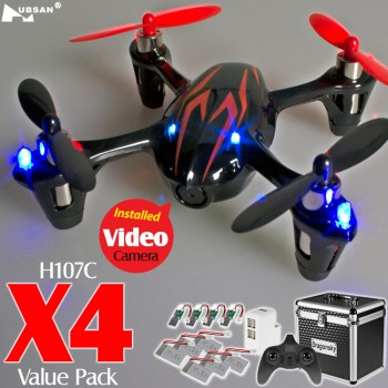 Hubsan (HS-H107C-BR-M2-CASE) X4 LED Version 6 Axis Gyro 4CH Mini Quadcopter with Video Camera Value Pack RTF (Black Red, Mode2) - 2.4GHz