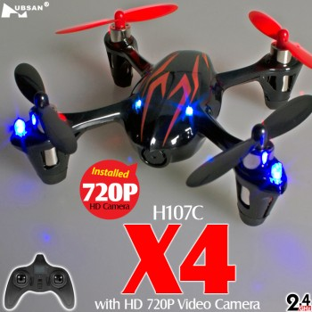 Hubsan (HS-H107C-HD-BR-M1) X4 LED Version 6 Axis Gyro 4CH Mini Quadcopter with HD 720P Video Camera and Rotor Blades Protection Cover RTF (Black Red, Mode1) - 2.4GHz