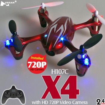 Hubsan (HS-H107C-HD-RS-M1) X4 LED Version 6 Axis Gyro 4CH Mini Quadcopter with HD 720P Video Camera and Rotor Blades Protection Cover RTF (Red Silver, Mode1) - 2.4GHz