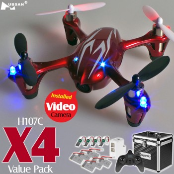 Hubsan (HS-H107C-RS-M1-CASE) X4 LED Version 6 Axis Gyro 4CH Mini Quadcopter with Video Camera Value Pack RTF (Red Silver, Mode1) - 2.4GHz