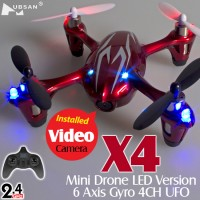 Hubsan (HS-H107C-RS-M1) X4 LED 4CH Video Mini Quadcopter RTF