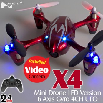 Hubsan (HS-H107C-RS-M1) X4 LED Version 6 Axis Gyro 4CH Mini Quadcopter with Video Camera RTF (Red Silver, Mode1) - 2.4GHz