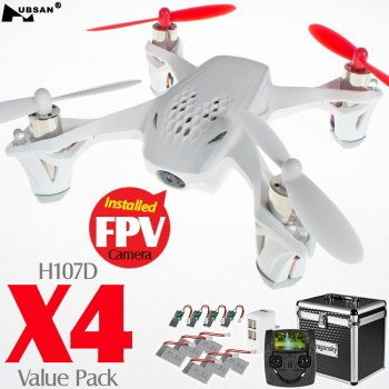 Hubsan (HS-H107D-W-M2-VP) X4 5.8GHz FPV 6 Axis Gyro 4CH Mini Quadcopter with 4.3 Inches LCD Transmitter and Rotor Blades Protection Cover Value Pack RTF (White, Mode2) - 2.4GHz