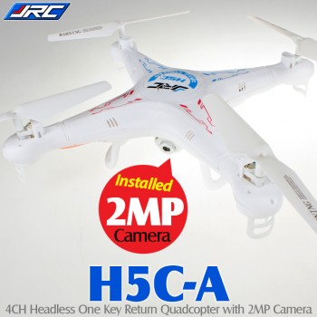 JJRC (JJRC-H5C-A) H5C 6 Axis Gyro 4CH Headless Mode One Key Return Quadcopter with 2MP Camera RTF (White, Mode 2) - 2.4GHz