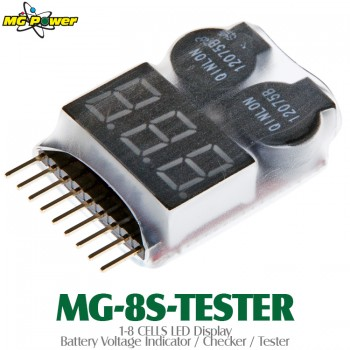 MG Power (MG-8S-TESTER) 1-8 CELLS LED Display Battery Voltage Indicator / Checker / TesterWalkera Common Parts