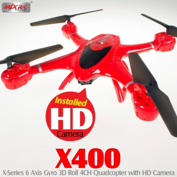 MJX RC (MJX-X400-C4002-R) X400 X-Series 6 Axis Gyro 3D Roll 4CH Quadcopter with HD Camera RTF (Red) - 2.4GHz