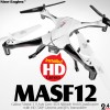 Nine Eagles (NE-MASF12-BW-M2) Galaxy Visitor 3 9 Axis Gyro 4CH Altitude Hold Quadcopter with HD 720P Camera and JFN Transmitter RTF (Black White, Mode 2) - 2.4GHz