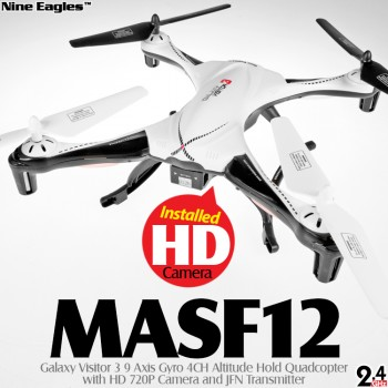 Nine Eagles (NE-MASF12-BW-M1) Galaxy Visitor 3 9 Axis Gyro 4CH Altitude Hold Quadcopter with HD 720P Camera and JFN Transmitter RTF (Black White, Mode 1) - 2.4GHz