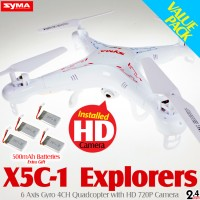 SYMA X5C-1 Explorers Quadcopter with HD 720P Camera Value Pack (Mode 2)