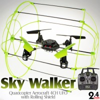 Sky Walker (SW-1306-G-M2) Quadcopter Aerocraft 6 Axis Gyro 4CH UFO with Rolling Shield RTF (Green, Mode2) - 2.4GHz