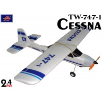 Lanyu (TW-747-1-A) 4CH Cessna EPO ARTF Aeroplane (White with Blue Stripe Pattern) - 2.4GHz