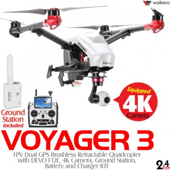 WALKERA (WALKERA-VOYAGER3-W-RTF) Voyager 3 FPV Dual GPS Brushless Retractable Quadcopter with DEVO F12E, 4K Camera, Ground Station, Battery and Charger RTF (White) - 2.4GHz