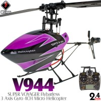 WLTOYS (WL-V944-P) SUPER VOYAGER Flybarless 3 Axis Gyro 4CH Micro Helicopter RTF (Purple) - 2.4GHz