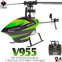 WLTOYS (WL-V955-G) SKY DANCER Flybarless 3 Axis Gyro 4CH Micro Helicopter RTF (Green) - 2.4GHz