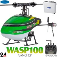 Skyartec (MNH02-1) WASP 100 NANO CP Flybarless 3 Axis Gyro 6CH Helicopter with Aluminum Carrying Case RTF - 2.4GHz