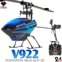 WLTOYS (WL-V922-B) Volitation 3 Axis Gyro 3D 6CH Flybarless Helicopter RTF (Blue) - 2.4GHz