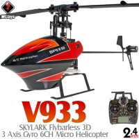 WLTOYS (WL-V933-R) SKYLARK Flybarless 3D 3 Axis Gyro 6CH Micro Helicopter RTF (Red) - 2.4GHz